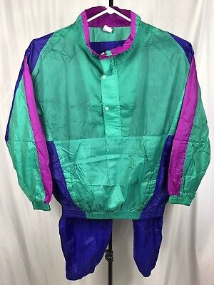 Vintage 90s Pro Spirit Mens XL Neon Green Purple Track Suit Nylon Tracksuit