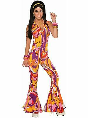 Funky Jumpsuit Lady 70's Disco Retro Fancy Dress Up Halloween Adult Costume