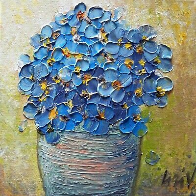 Blue Flowers BOUQUET in a Vase Original Textured Oil Painting on Canvas Art by