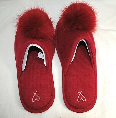 f0f18c636 VICTORIA'S SECRET POM Pom Slippers RED House Slippers Size M L NWT ...