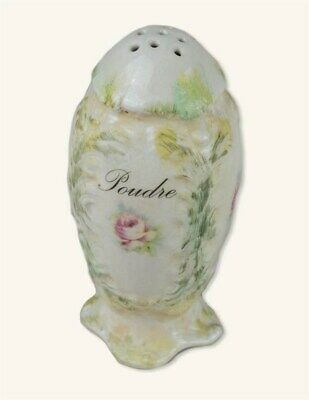 Victorian Trading Co Green White French Rose Porcelain Powder Shaker