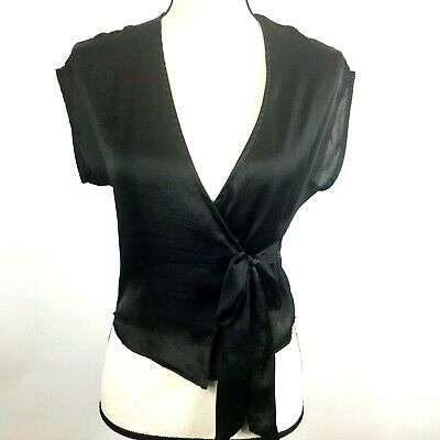 677e4b390db Silence + Noise Womens S Anthropologie Sheer Black Top Crossover Tie Cap  Sleeve