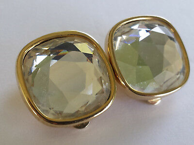 Vintage Marked S.A.L. Large Faceted Swarovski Crystal Rhinestone Button Earrings