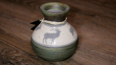 Reindeer Elk Pottery Hand Thrown Authentic Earth & Fire Raku SIGNED BY ARTIST