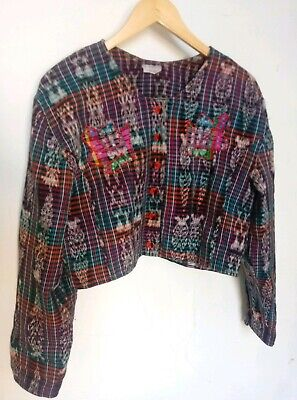Vtg 70s 80s Mexican Sz M Woven Cropped Cotton Patchwork Jacket Hippie Folk Art