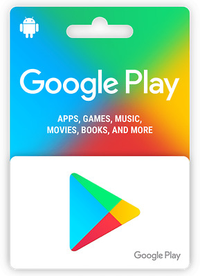 Google Play Store Physical Gift Card - FREE 1st Class Mail Delivery - NEW SEALED