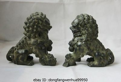 China Palace Bronze Copper Feng Shui Evil Door Guardian Foo Dog Lion Statue Pair