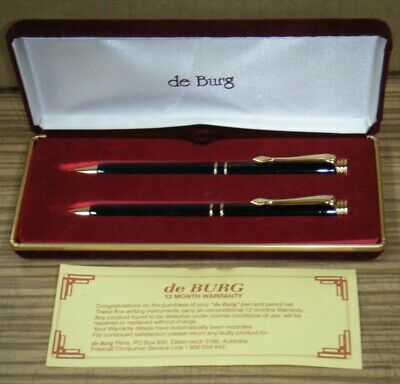 de Burg Pen and Mechanical Pencil Set In Red Velvet Box