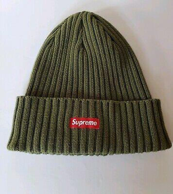 dad61dc2 SUPREME ICE BLUE Red Box Logo Ribbed Beanie Hat SS18 AUTHENTIC ...