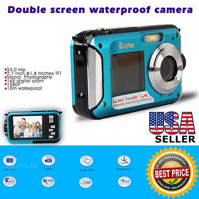 Portable Waterproof Camera 16x Digital Zoom HD 24MP Dive Video Camcorder Clear