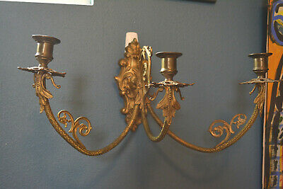 Stunning Antique Gilt Bronze Brass 3 Candle Light Wall Sconce Circa 1890 French