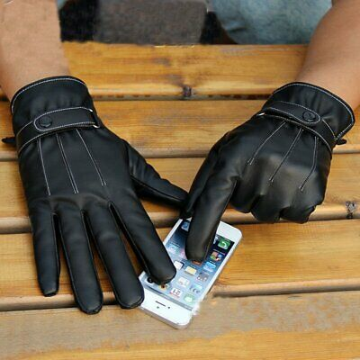 Mens Women Touch Screen Gloves Pu Leather Thermal Lined Black Driving Winter