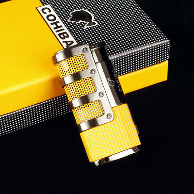 COHIBA Yellow Gridding Stripes Cigar Cigarette 3 Torch Jet Flame Lighter W/Punch