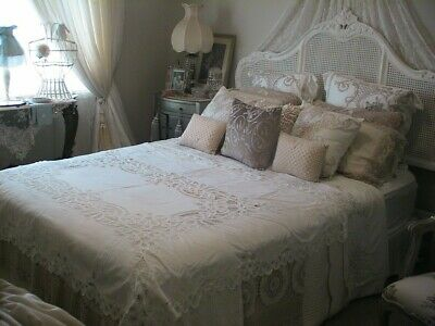 Beautiful White Battenberg Rectangular Lace Tablecloth Or Bedcover 183 X 132Cms