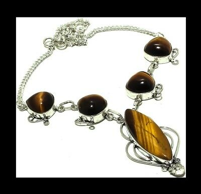 New - Antique Silver Tigers Eye Stone Pendant Necklace