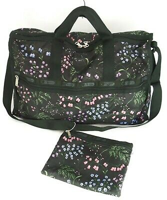 LeSportsac LARGE WEEKENDER Bag Crossbody Travel Tote Black Floral USA $120 EXC