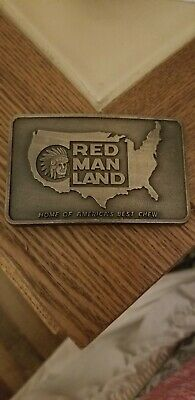 "Red Man Chewing Tobacco Brass Belt Buckle - ""Red Man Land"""