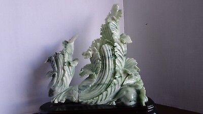 Large Asian Chinese Carved Stone Jade Figure Statue Pair of Cabbages Wood Stand