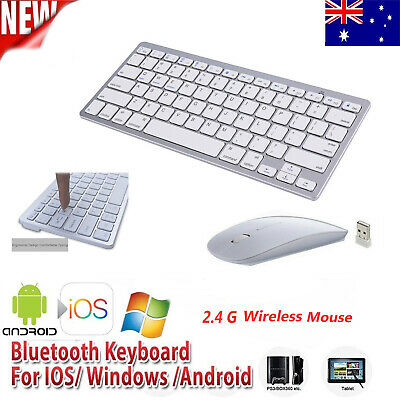 Slim Bluetooth 2.4GHZ Wireless Keyboard and Optical Mouse for Android Windows PC