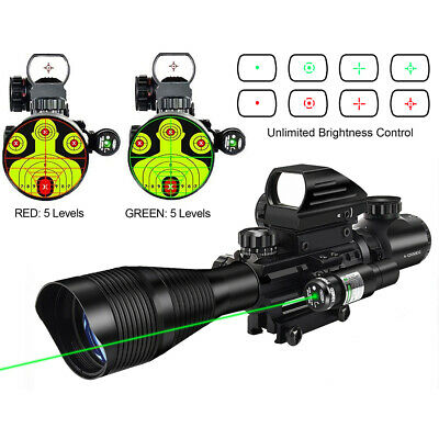 CVLIFE 4-12X50 Rifle Scope w/ Green Laser Sight + 4 Holographic Dot Reflex Sight