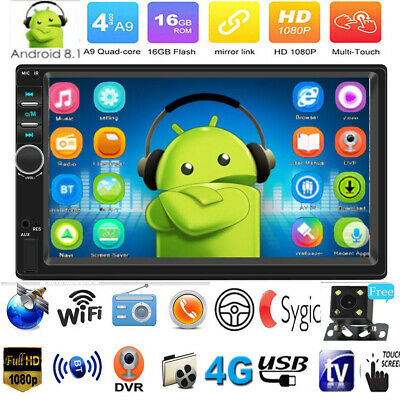 "Android 8.1 7""2Din GPS Navi WiFi BT Car Stereo MP5 Player FM Radio Quad-core+Cam"