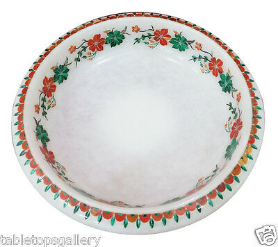 "7"" White Marble Stylish Fruit Bowl Mosaic Inlay Marquetry Floral Art Deco H2008"
