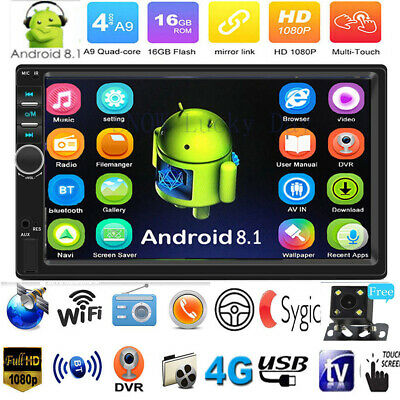 "7"" Android 8.1 4-Core GPS WiFi BT AUX Car Stereo MP5 Player FM Radio 2Din+Camera"