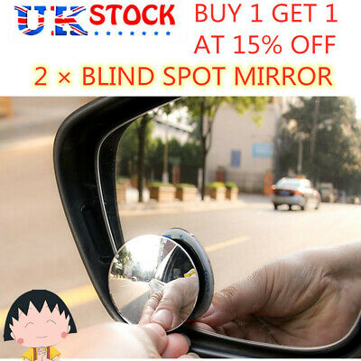 2x BLIND SPOT Convex MIRROR Towing Reversing Driving SELF ADHESIVE Car Van Bikes