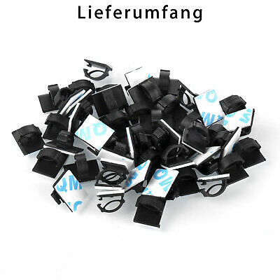 50X Cable Clips Self-Adhesive Cord Management Wire Holder Organizer Clamp Black
