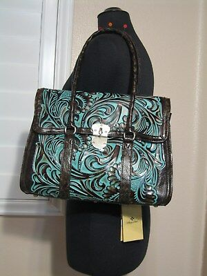 Patricia Nash Vienna Satchel       Tooled Turquoise      Style # 531133   New