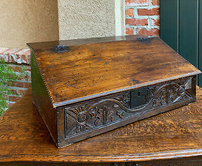 Antique English Carved Oak Bible Box Display Stand Desk Lectern Gothic Primitive