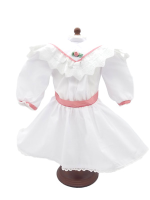 """American Girl Doll SAMANTHA White Tea Dress only Pink Extras Fits 18"""" Doll"""