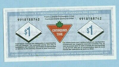 2012 Canadian Tire coupon Money  $ 1 one dollar note  9918188742 -S31-F12
