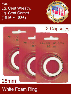 Lg Cent Cornet 1816-1836 ~15 Direct Fit 28mm Coin Capsule For US Lg Cent Wreath
