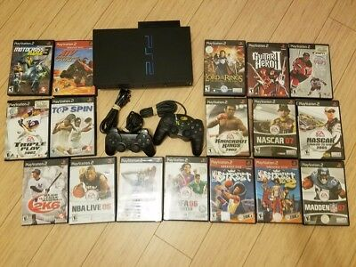 Sony Playstation 2 Fat Black Console + 2 Controllers +17 Games PS2 Bundle TESTED