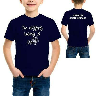 Boys Digger Toddler 3rd Birthday Personalised Funny Printed T-Shirt Tee Top