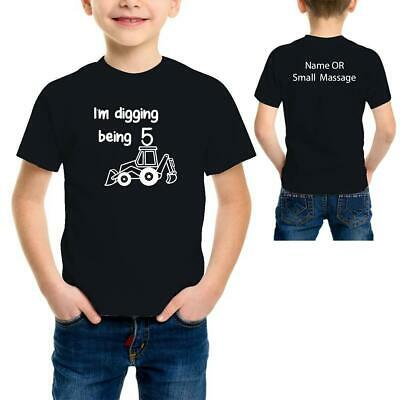 5th Birthday Boys Digger Toddler  Personalised Funny Printed T-Shirt Tee Top