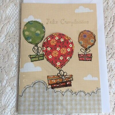 Happy Birthday Card Gifts Bow Balloons Sky Clouds Green Red Yellow