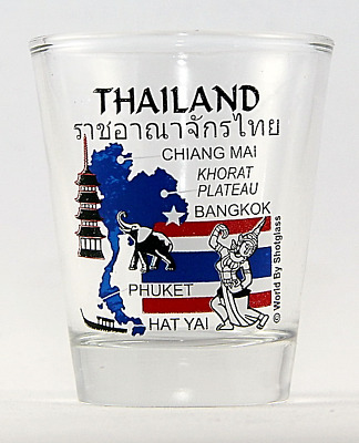 Thailand Landmarks And Icons Collage Shot Glass Shotglass
