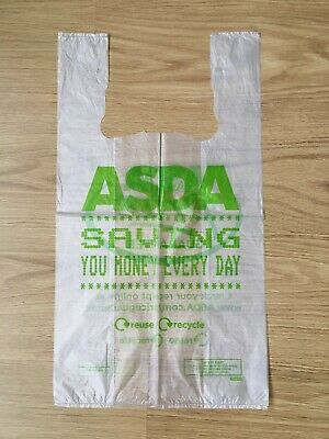 51x plastic clear asda BAGS carrier reusable shopping food big supermarket bulk