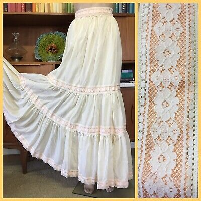 VINTAGE 70's Simona Couture TIERED PRAIRIE SKIRT & BELT Lace Trim 10 PEASANT