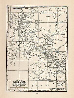 1926 Map Of United States Canal Zone Panama Canal