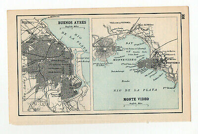 1909 Map Of Buenos Ayres & Monte Video Old Antique