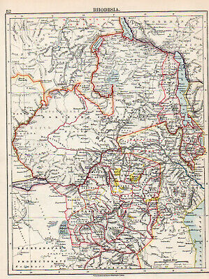 Map Rhodesia Africa  W & AK Johnston 1902 Original Antique