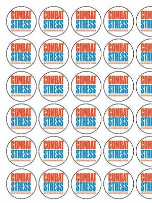 "30 x Combat Stress Charity  1.5"" PRE CUT PREMIUM RICE PAPER Cup Cake Toppers"