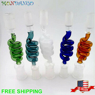 Helix Spin Curved 14mm 18mm Male Female Glass Adapter Joint Extensions Colors