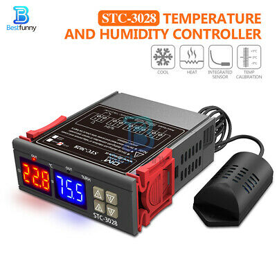 STC-3028 AC110-220V 10A Dual LED Temperature & Humidity Controller Thermostat