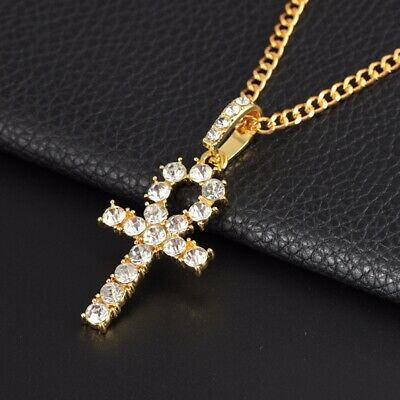 Womens Mens Gold stainless steel Cross Chain Crucifix Jesus Necklace Pendant