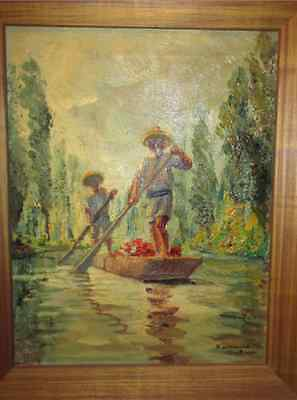 LISTED Mexican Impressionist 1930's Oil painting singed by MAYA