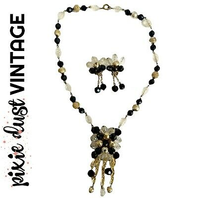 Antique Vintage Jewellery Set Necklace Earrings 60s 1960s Clip Black White Beads